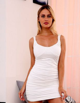 Solid Ruched Elastic Waist Bodycon Dresses