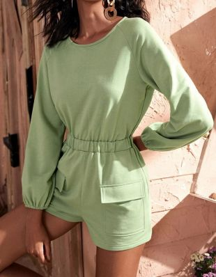 Casual Solid Color Round Neck Pocket Long Sleeve Jumpsuit