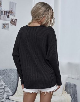 Casual Cute V Neck Loose Solid-color Multicolor Long Sleeve Knit